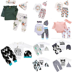 camisa de navidad para niños al por mayor-Más estilos New Baby Girls Christmas Hollowen Outfit Romper Kids Boy Girls piezas Set T Shirt Pant Hat Baby Kids Ropa Conjuntos