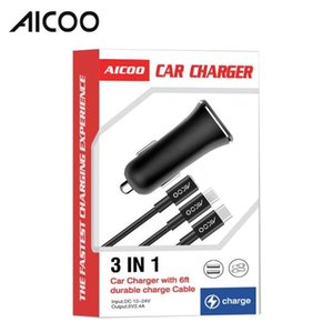 Wholesale AICOO in Multi function Car Charger Set with Charging Cable for Type C Micro Android USB Mini Durable Portable Charger Retail Package