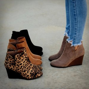Wholesale PUIMENTIUA Pointed Toe Booties Winter Women Leopard Ankle Boots Footwear Platform High Heels Wedges Shoes Woman Bota Feminina