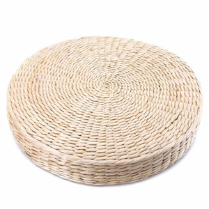 Wholesale Straw Weave Grass Cushion Furniture Round Mat Pillow Cushion Pad Handmade Chair Seat Pad Zen Outdoor Seat Beige Floor