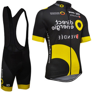 Wholesale Direct Energie Cycling Jerseys summer Breathable Racing Bicycle Clothing quick dry Lycra Gel Pad Race Mtb Bike Bib Pants Black Yellow