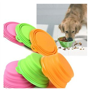 Wholesale Silicone dog bowl candy color collapsible foldable outdoor travel portable puppy dogs food container feeder dish storage bowl FFA2587