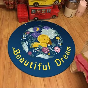 Wholesale Blue Beautiful Dream Kids Room Rug Round Cartoon Lion Print Velvet Fabric Polyester Carpets Children s Playmat
