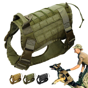 Wholesale New Tactical Service Dog Vest Training Hunting Molle Nylon Water resistant Adjustable Dog Harness Handle Hunting