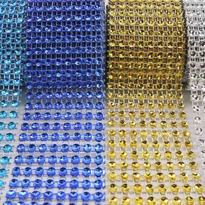 Wholesale 2Yard cm Bling Diamond Mesh Roll Event Party Birthday Wedding DIY Decoration Table Bottle Wrap Crystal Ribbons Rhineston Tulle