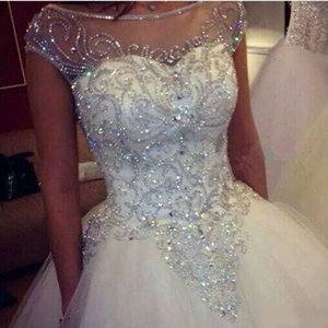 Ball Gown Wedding Dresses New Gorgeous Dazzling Princess W1455 Bridal Real Image Luxurious Tulle Handmade Rhinestones Crystal Sheer Top
