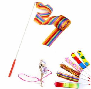barra de gimnasia al por mayor-Fedex DHL Freeshipping M Gym Dance Ribbon Rhythmic Art Gymnastic Streamer Baton Twirling Rod Mix color