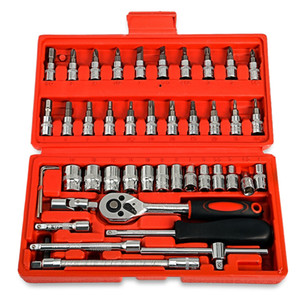 46pcs Automobile Motorcycle Car Repair Tool Set Precision Ratchet Wrench Sleeve Universal Joint Hardware Tools Kit Auto Tool Box on Sale