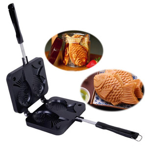 Wholesale Taiyaki Japanese Fish-Shaped Bakeware Waffle Pan Maker 2 Cast Cake Mold Home Cake Tools Kitchen Accessories Baking Tools