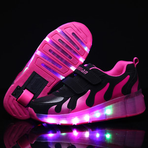Pink Gold Glowing Kids Roller Skate Children Led Light Up Shoes Girls Boys Sneakers With Wheels Heelies MX190726 on Sale