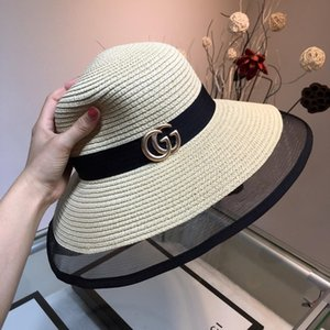 Wholesale 2019New top classic hot sale famous brand ladies sun hat outdoor leisure travel designer grass weaving ladies sun hat with box
