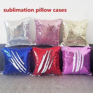 sublimation Mermaid Sequin Pillow Case Mermaid Toy Pillow Cover Decorative Cushion Cover Reversible Sequin Pillowcase Home Decor 40*40CM