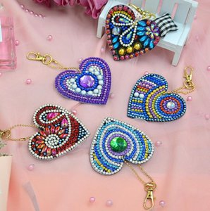 Wholesale 5pcs DIY Full Special Shaped Diamond Painting lover Keyring Keychains Unique Shining Full Drill Special Shaped Rhinestones