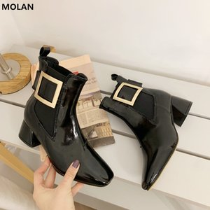 Wholesale MOLAN Brand Designer Winter Fashion Black Luxury Metal Buckle Decoration Short Leather Ankle Boots Elastic Band Women Shoes
