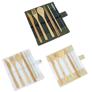 Wholesale Wooden Dinnerware Set Bamboo Teaspoon Fork Soup Knife Catering Cutlery Set with Cloth Bag Outdoor travel portable tableware