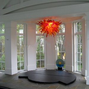 Wholesale Italy Designed Custom Made Chandelier Red Colored Hand Blown Glass Lighting for Home Kitchen Bed Room Decor