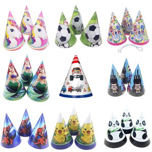 6pcs lot Cartoon Mermaid football Ballet girl unicorn paper hats cap kids boy girl happy birthday party supplies decorations