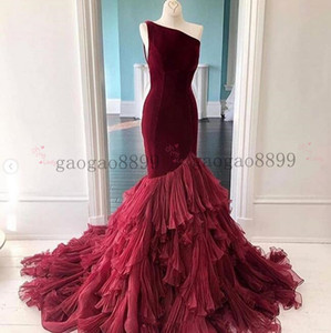 Wholesale 2019 gorgeous burgundy Mermaid Evening Dresses Illusion one shoulder tired sweep train Prom Dresses Long Formal prom Gowns custom made