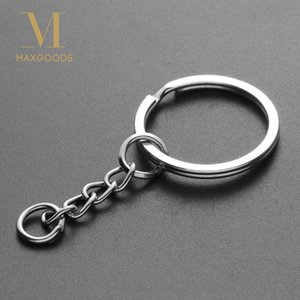 Wholesale 10pcs mm Polished Silver Color Keyring Keychain Short Chain Split Ring Key Rings DIY Key Chains Accessories