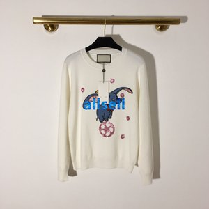 high end women girls oversize knit sweater elephant sequins crew neck long sleeve blouse shirt knitwear milano fashion design pullover tops