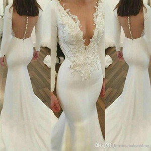 Wholesale Vintage Mermaid plus size Prom Dresses V Neck Long Sleeves Lace Applique Illusion Button Back Party Gowns Dresses Evening Wear PROM DRESSES