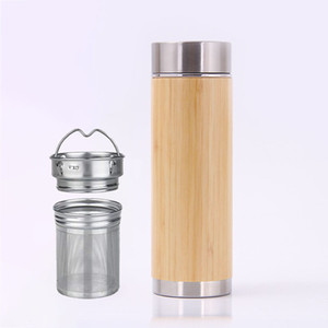 Wholesale Stainless Steel Bamboo Mug Water Bottle Insulation Cup with Tea Infuser and Strainer Bottle Sports Travel Mug Gift WX9