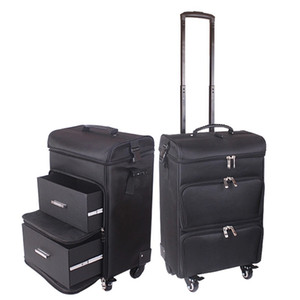 Professional women trolley makeup case large rolling luggage new cosmetic box beauty tattoo manicure toolbox multilayer suitcase