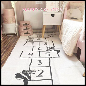 Wholesale Baby Hopscotch Game Mat Kids Activity Play Gym Mats Cartoon Printing Children Infant Adventure Rug Road Carpet Crawling Blanket Q190603
