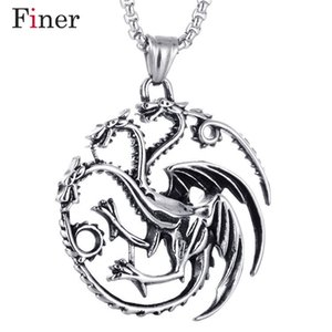 Fashion Jewelry Hot Movie Song of Ice And Fire Series Games Powers Torque Targaryen Dragon Badge Pendant Necklace