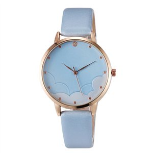 Wholesale Classic Fashion Simple sport personality beautiful Casual Romantic Watch Cloud Dial Belt wrist watches for women new Watch