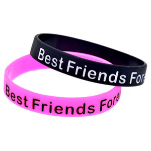 Wholesale Silicone Bracelets words Best Friends Forever Gym Fitness Power Bands Energy Bangles women Men Sports Wristbands BFF Memorial Bracelets