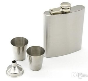 Wholesale 7 oz Stainless Steel Hip Flask Sets Jack Flagon With Funnel Cups Wine Whisky Hip Flask Portable Flagon Bottle Gift Box