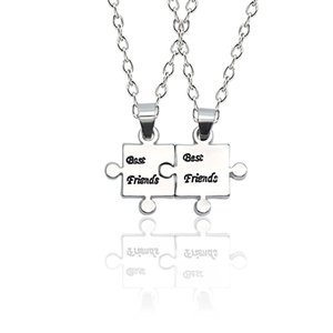 Wholesale 2019New Best Friend Necklace Pendant set Silver Irregular Geometric Pendant Necklace For BFF Friendship Jewelry Drop Shipping