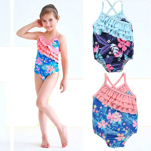 Wholesale Baby Girls Sling Swimsuit Kids Designer Swimwear Infant Baby Floral Print Backless Swimsuit Summer Kids Little Floral Ruffle Swimsuit 06