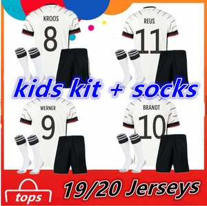 Wholesale 2020 Germany Kids Kit socks Home Child Boy Girl Clothes Toddler Junior Football Uniform Soccer Jersey KROOS REUS Kinder Trikot shirts