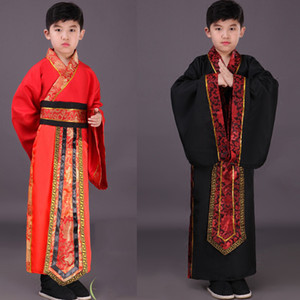 Wholesale Chinese National Hanfu Black Red Ancient China Costume Hanfu Boys Clothing Traditional National Tang Suit Stage Costumes DN2577