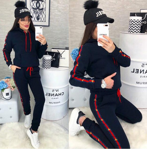 Wholesale 2019 Fashion women Two piece set autumn hoodie Tops Bees ribbon pants sweatshirts Striped Panelled tracksuit woman Sport suit