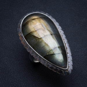 Wholesale Natural Blue Fire Labradorite Handmade Unique Sterling Silver Ring US size T6073