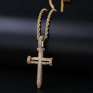 Wholesale New Fashion Hip Hop Jewelry Yellow White Gold Nail Pendant Necklace for Men Women Punk Jewelry