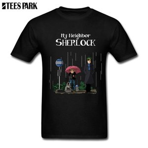 Wholesale My Neighbor Sherlock T Shirt Printing Male Pre Cotton Short Sleeved Totoro Anime Cartoon T Shirts Hot Sale Youth Inspirational