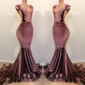 Wholesale Velvet Mermaid Prom Dresses Deep V Neck Sleeveless Sweep Train Evening Gowns Zipper Back Pleats Cheap Formal Party Dress
