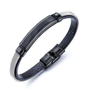 Wholesale mens leather bracelet belt resale online - mens for bracelets black Silver mesh belt stainless steel PUNK bracelets PU leather Titanium feather hand chain mens jewelry for gifts