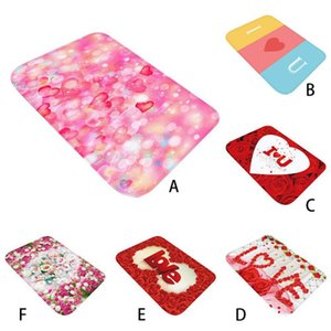 Wholesale Home Romantic D Printed Flannel Fabric Area Rug Love Heart Pattern Carpet for Valentine s Day Home Party Decoration