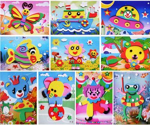 Wholesale 3D EVA Foam Sticker Puzzle Game DIY Cartoon Animal Learning Education Toys For Children Kids Multi patterns Styles Random Send Y