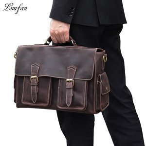 Wholesale Mens crazy horse leather business bag quot Real leather briefcase laptop messenger bag Cow shoulder Brown Work Tote