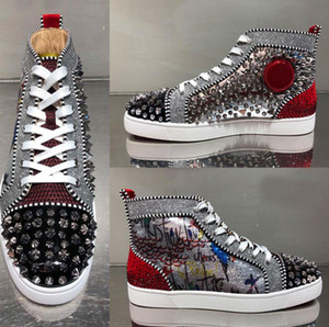 2019 Perfect quality original brand new high-top red shoes men's casual shoes sequin graffiti