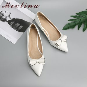 Wholesale Meotina Shoes Women Bow Low Heels Ladies Wedge Heels Bridal Shoes Patent Leather Footwear Female White Red Plus Size
