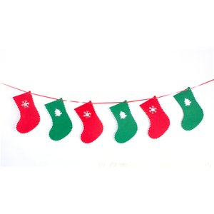 Wholesale 8Pcs Set Christmas Bunting Banners Hanging Diy Non Woven Fabric Socks Flag Decoration Socks Pulling Flag