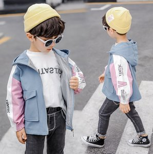 Boys cartoon dinosaur outwear fall kids patchwork hooded double pocket casual trench coat children letter printed long sleeve jacket F9042 on Sale
