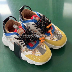 Wholesale New Yellow Chain Reaction Sneaker Trainers Mens Womens Sneakers Light Weight Chain Linked Rubber Sole Shoe Designer Fashion Shoes Size